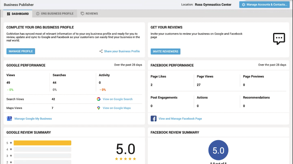 Business Publisher Dashboard GoMotion