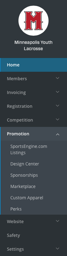 SportsEngine HQ Navigation - Programs