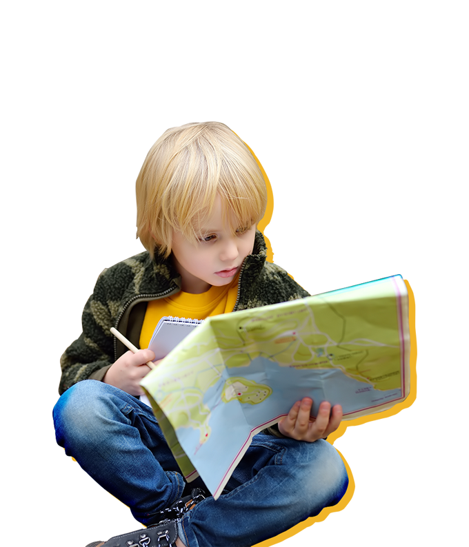 Kid reading map