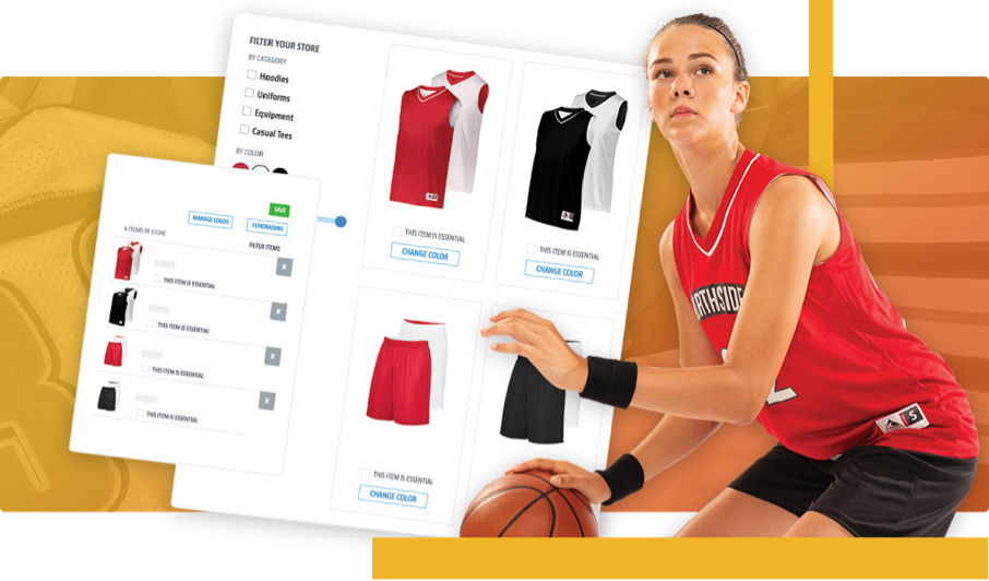 Basketball player and gear