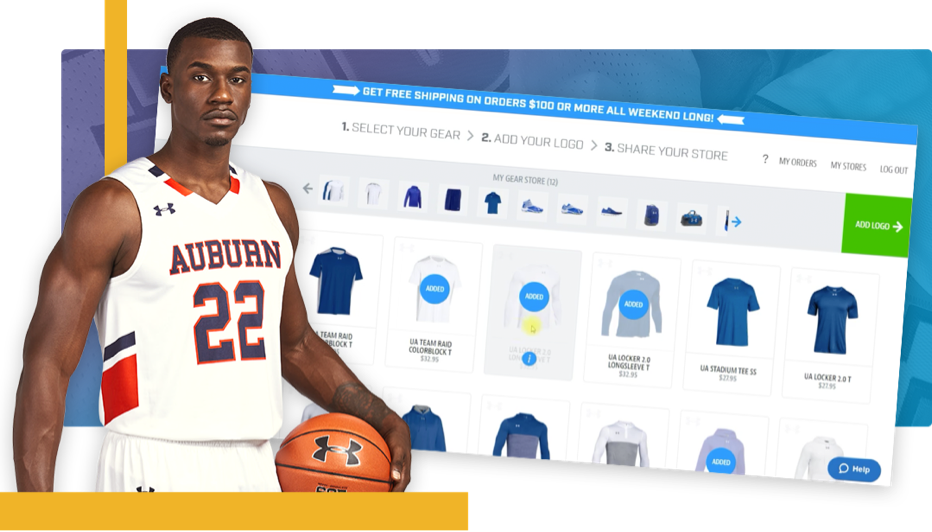 Basketball player in front of online store