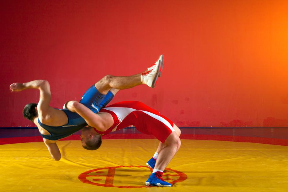 wrestling blue red