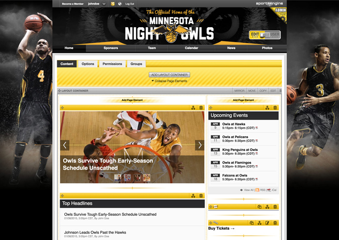 awesome team sports websites league website builder